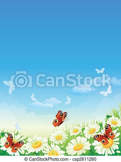 papillon, fleurs - csp2611260