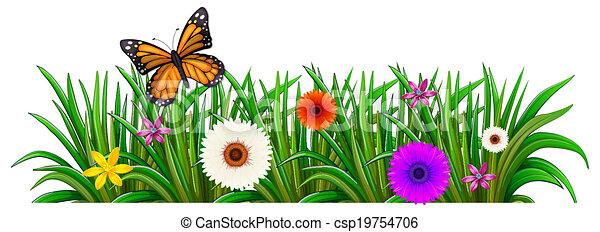 Papillon, fleurs, jardin, fleurir. Papillon, jardin, illustration ...