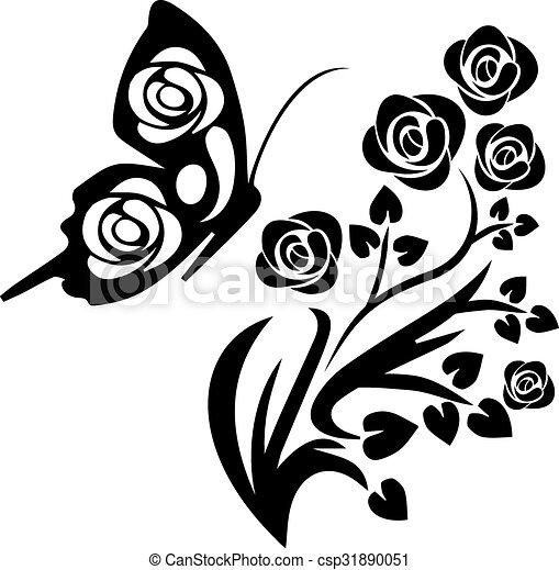 Papillon Fleurs Noir