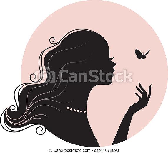 Schöne Frau mit Schmetterling - csp11072090