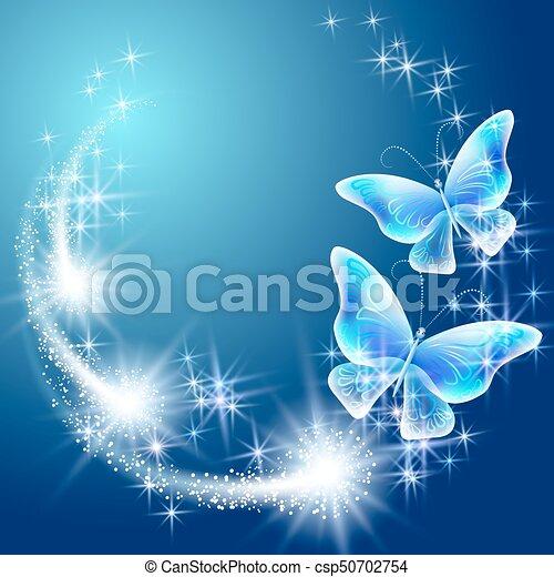 Schmetterling mit leuchtenden Feuerwerken - csp50702754