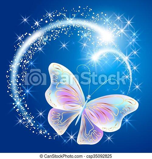 Schmetterling mit leuchtenden Feuerwerken - csp35092825