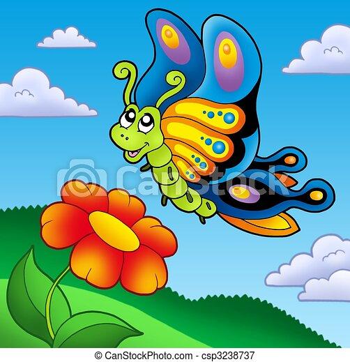 Papillon mignon fleur rouges papillon mignon fleur - Image papillon et fleur ...