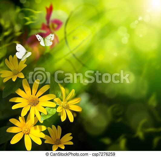 Künstliche Sommergeschichte abbrechen. Blumen und Schmetterlinge - csp7276259