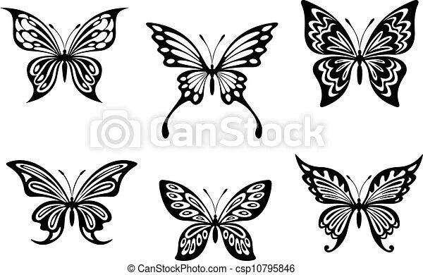 Dessin Papillon Tatouage papillon, tatouages, silhouettes, noir. papillon, tatouages, isolé