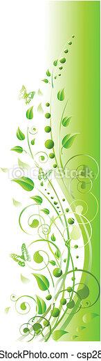 papillon, tourbillons, cadre, feuillage vert, floral - csp2875796