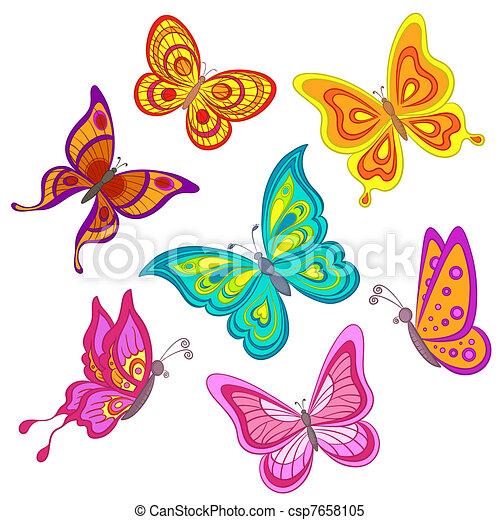 Dessin Papillon En Couleur papillons, ensemble. ensemble, couleur, papillons, divers, fond, blanc.
