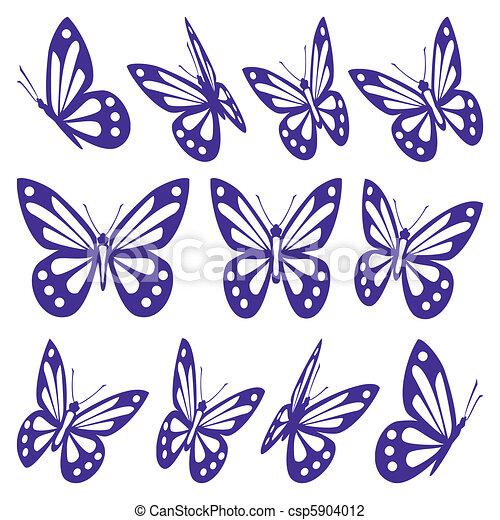 Papillons Ensemble Different Entiers Couleur Papillons