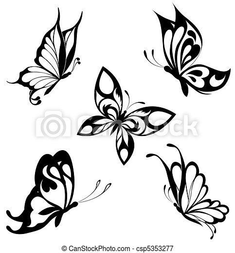 papillons, ensemble, noir, blanc, cette - csp5353277
