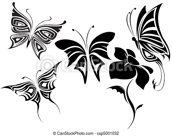 Papillons ensemble tribal image image compos e - Tribal papillon ...