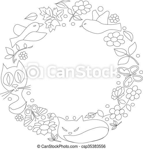 Papillons Fleurs Chats Cercle Dessin