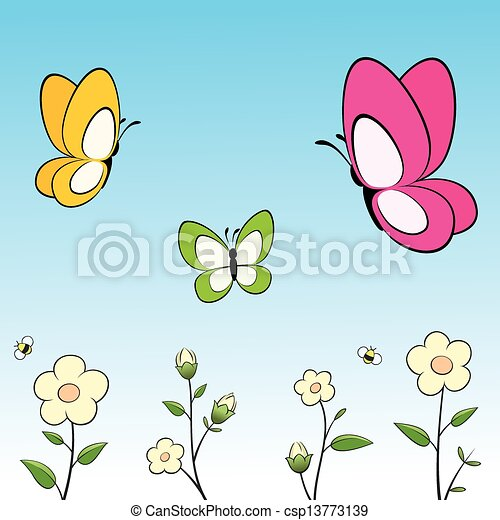 Papillons Fleurs Dessin Anime Pose Couches Papillons Illustration Groupe Flowers Vecteur Facile Edition Dessin Canstock