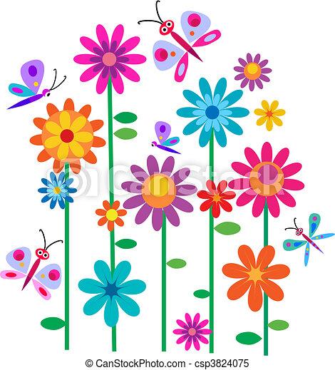 Papillons fleurs printemps vecteur fleurs papillons printemps illustration - Dessin fleurs printemps ...