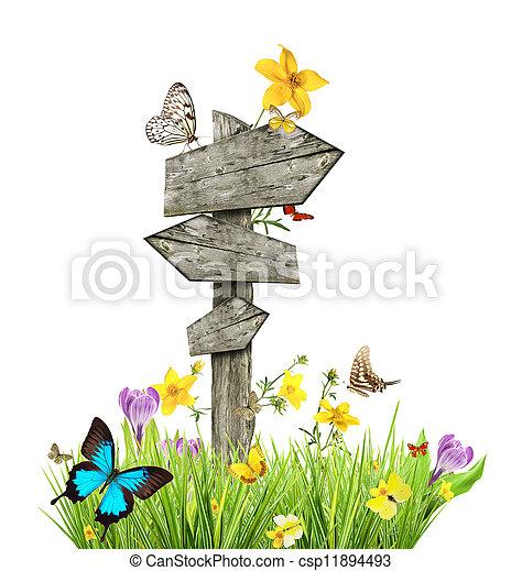 papillons, printemps, concept, pré, poteau indicateur - csp11894493