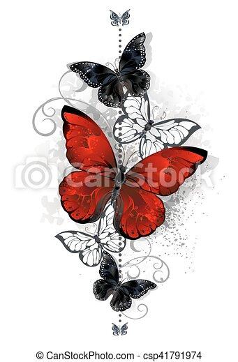 papillons rouge noir papillon tatouage clair papillons illustration vecteurs. Black Bedroom Furniture Sets. Home Design Ideas