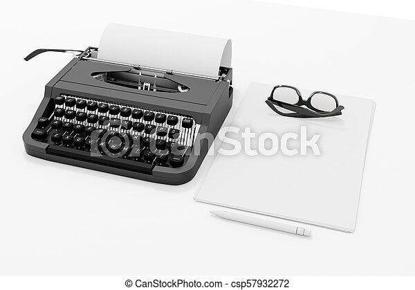 papper, 3, skrivmaskin - csp57932272