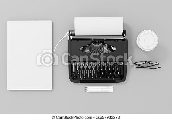papper, 3, skrivmaskin - csp57932273