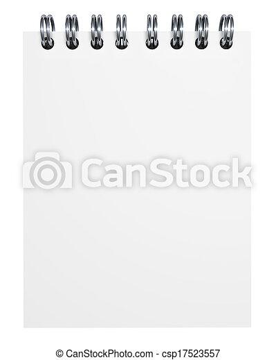 papper, anteckningsbok, tom - csp17523557