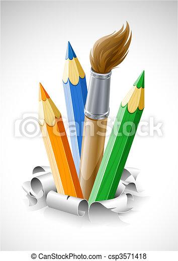 papper, blyertspenna, sönderrivet, borsta, färgad - csp3571418