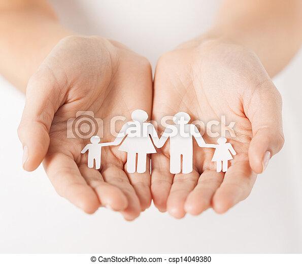 papper, man, kvinna, familj, räcker - csp14049380
