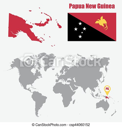 Papua New Guinea map on a world map with flag and map pointer. Vector  illustration