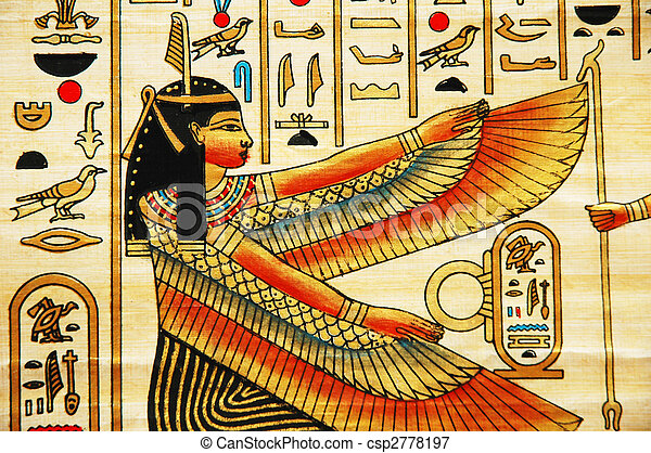 Papyrus with elements of egyptian ancient history - csp2778197