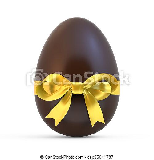 Paques Jaune Chocolat Fond Oeuf Blanc Ruban Paques Isole