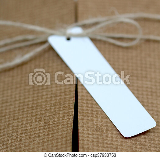 paquet, attaché, attaché, étiquette, adresse, blanc, ficelle - csp37933753