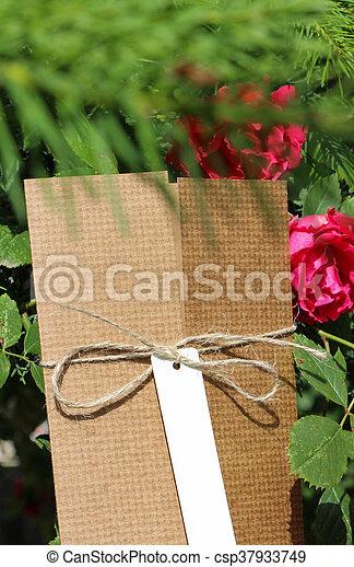paquet, attaché, attaché, étiquette, adresse, blanc, ficelle - csp37933749