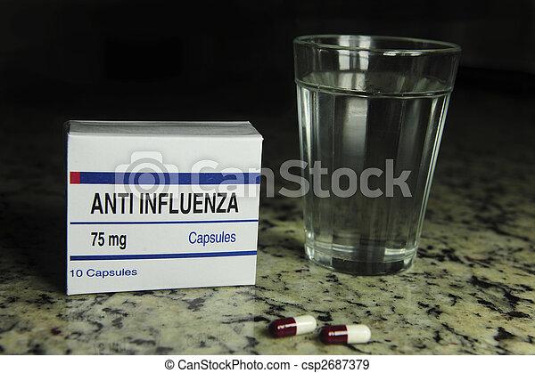 paquete, gripe, cristal del agua, anti, píldora - csp2687379