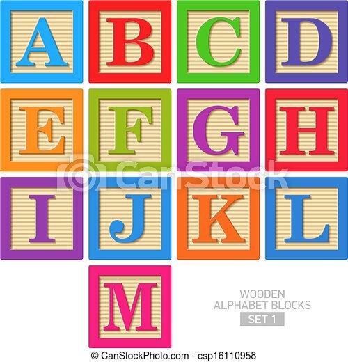 paquets alphabet bois - csp16110958