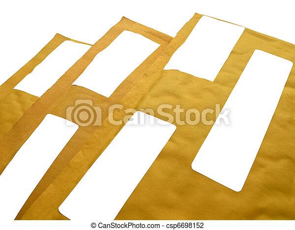 paquets, papier, 3, isolé, jaune, recyclage, (envelopes), courrier - csp6698152