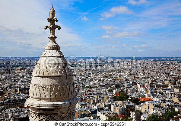 París Skyline y sacre coeur basilique - csp45346351