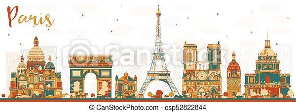 Paris france skyline con colores. - csp52822844