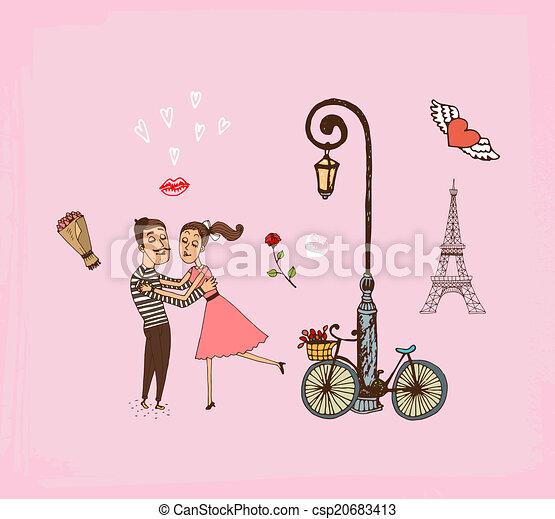 Una pareja romántica de vacaciones en París - csp20683413