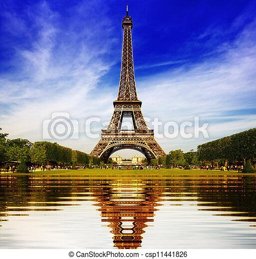 parís, resumen, eiffel, reflexión, torre - csp11441826