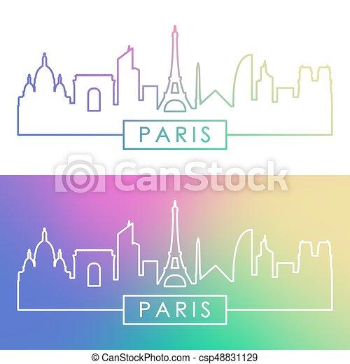 El horizonte de París. Estilo lineal colorido. - csp48831129