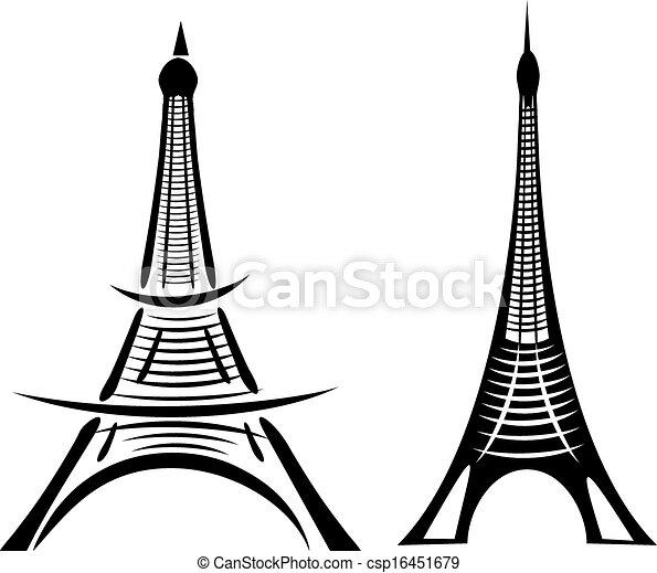 Paris eiffel torre vector art - csp16451679