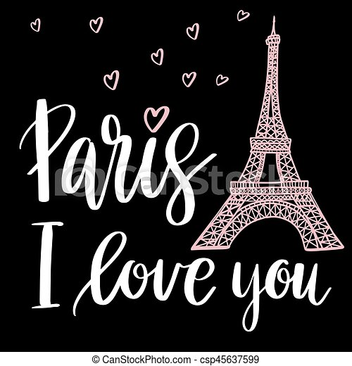 Paris Usted Amor Frase Textil Eifel Amor Illustration