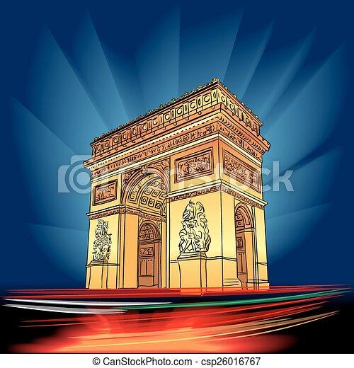 Vector arco de triunfo paris por la noche - csp26016767