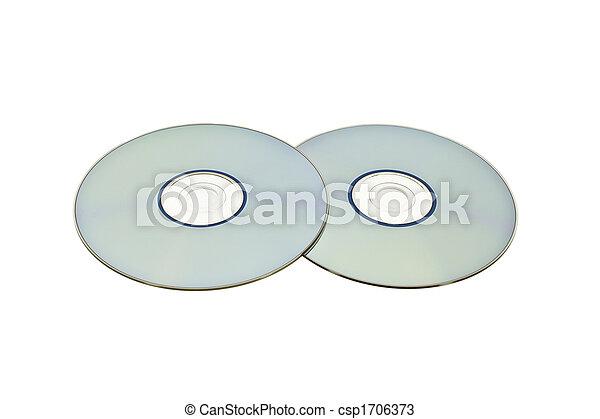 Un par de discos ópticos aislados en blanco - csp1706373
