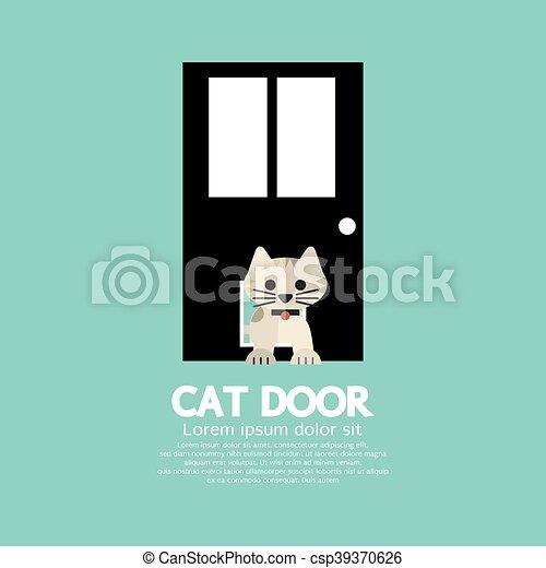 par, dépassement, porte, chat - csp39370626
