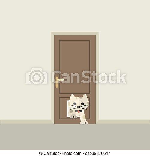 par, dépassement, porte, chat - csp39370647