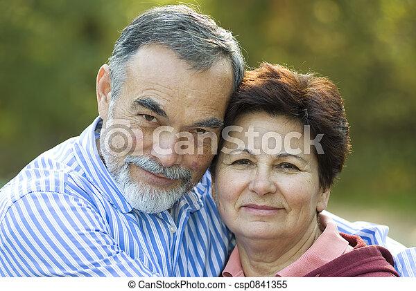 par, idoso, feliz - csp0841355