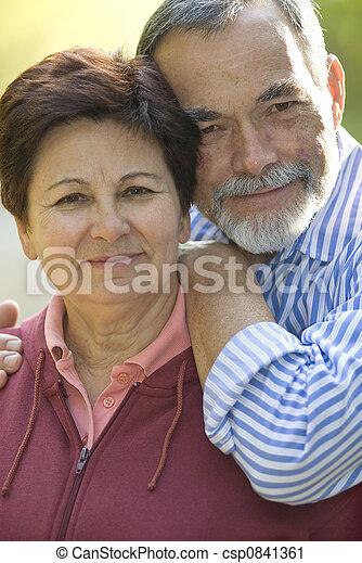 par, idoso, feliz - csp0841361
