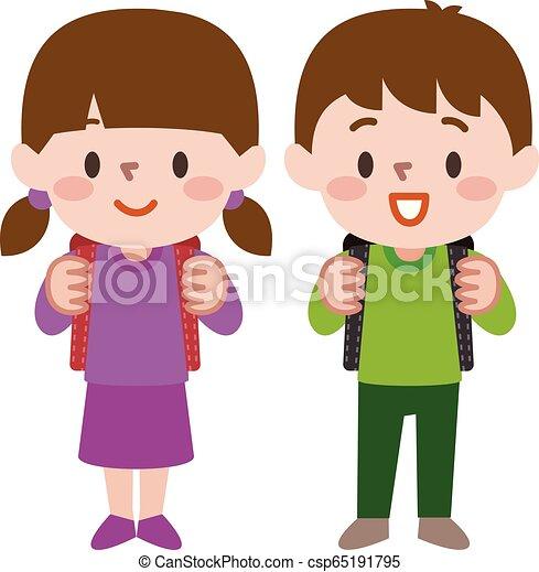 par, ilustração, vetorial, estudante, schoolgirl, feliz, aluno - csp65191795