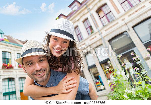 par, jovem, feriados, divertimento, tendo, feliz - csp20766756