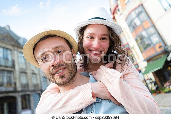 par, jovem, feriados, divertimento, tendo, feliz - csp26399694