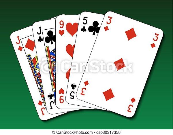 Poker hand - un par - csp30317358