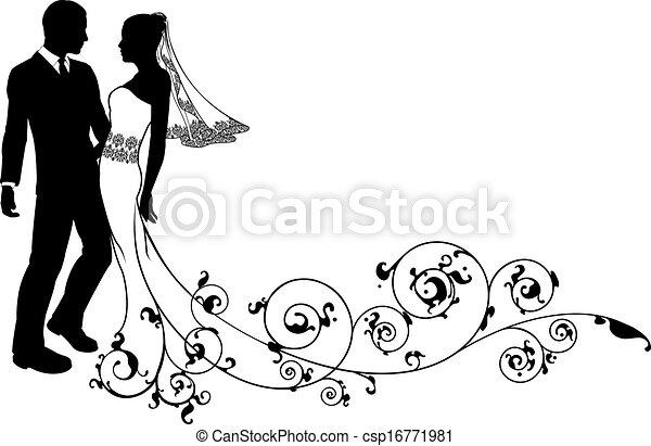 par, noivo, casório, noiva, silueta - csp16771981